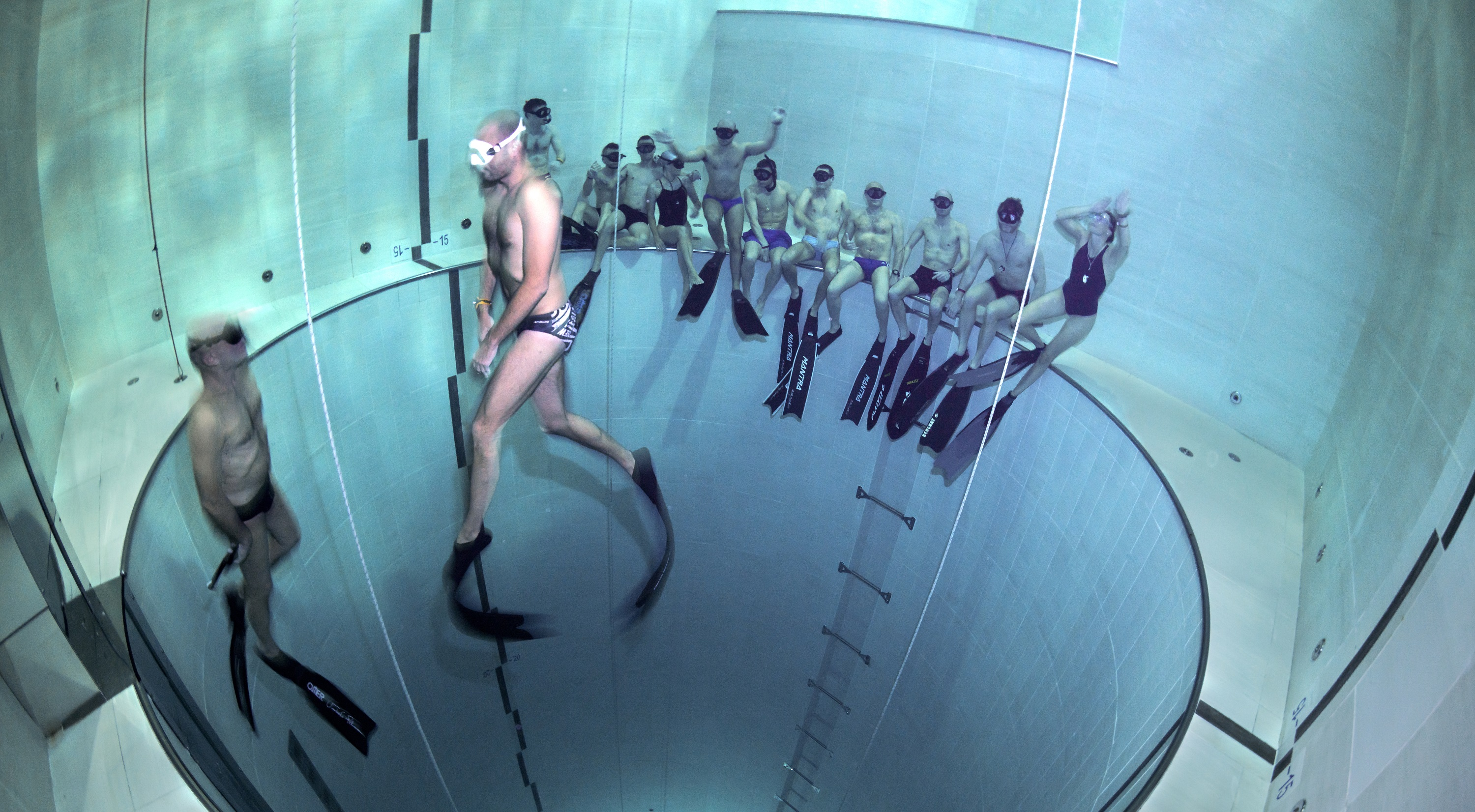 Training sessions in the world's deepest pool